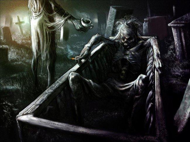 О, в духе хоррор, такая будничная картина - мужик в ванне лежит и курит, и